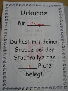 Stadtralley Urkunde